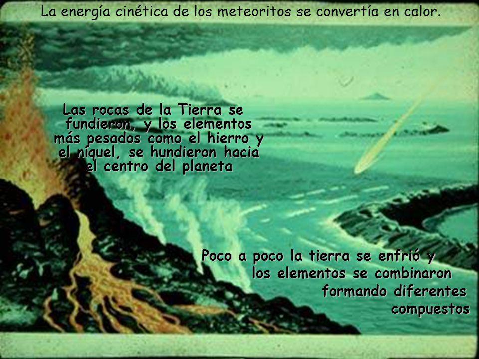 La energía cinética de los meteoritos se convertía en calor.