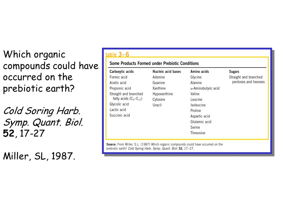 Which organic compounds could have. occurred on the. prebiotic earth Cold Soring Harb. Symp. Quant. Biol.