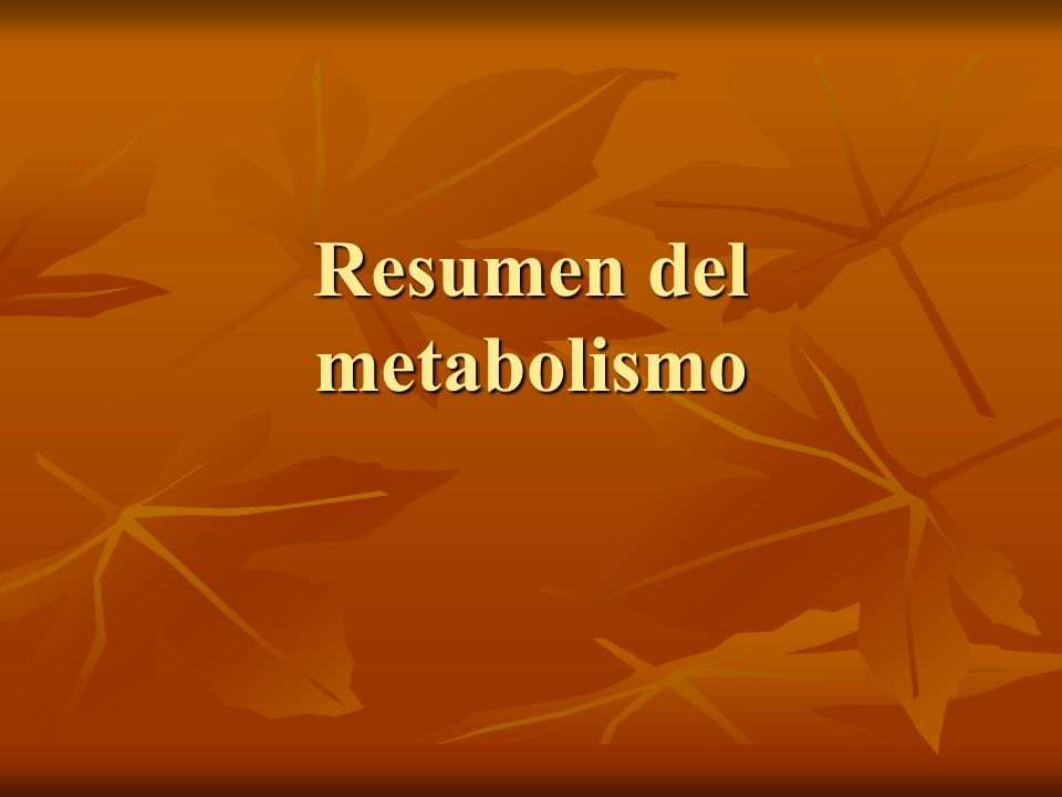 Resumen del metabolismo