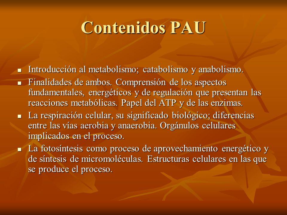 Contenidos PAU Introducción al metabolismo; catabolismo y anabolismo.
