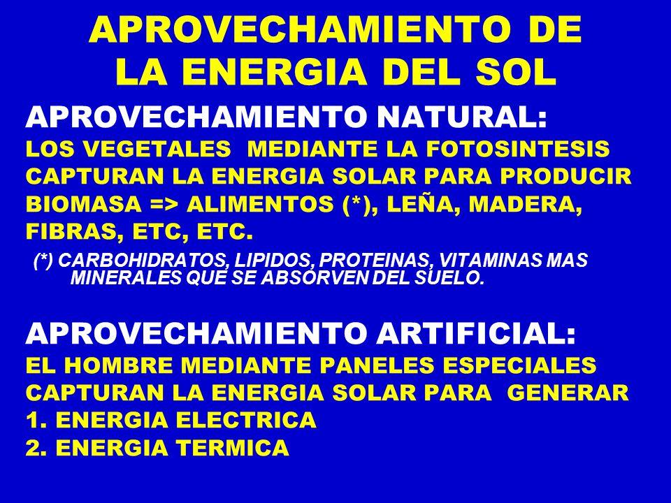 APROVECHAMIENTO DE LA ENERGIA DEL SOL