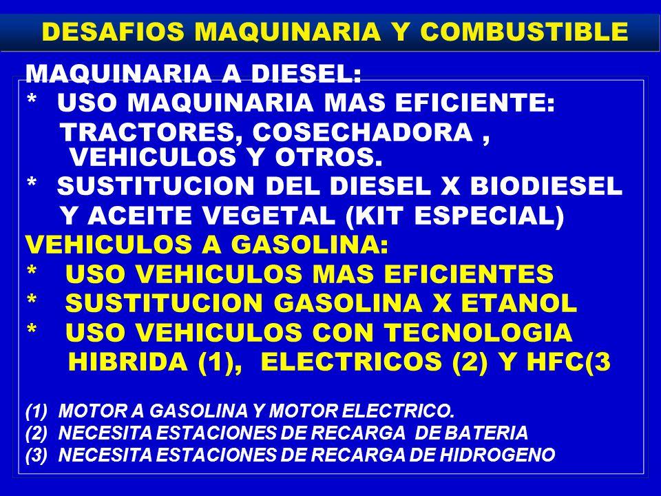 DESAFIOS MAQUINARIA Y COMBUSTIBLE