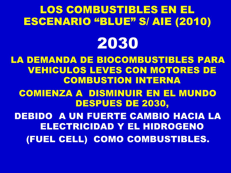 LOS COMBUSTIBLES EN EL ESCENARIO BLUE S/ AIE (2010)