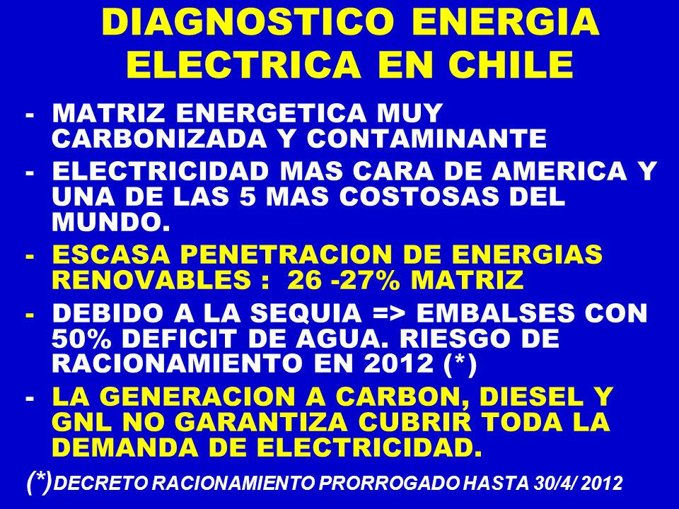 DIAGNOSTICO ENERGIA ELECTRICA EN CHILE