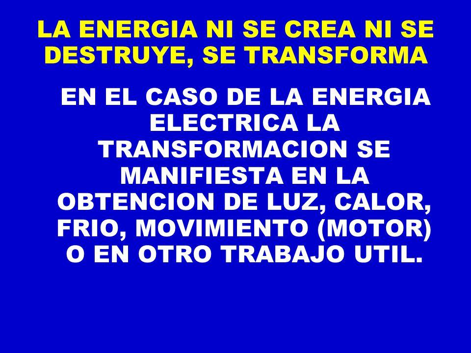 LA ENERGIA NI SE CREA NI SE DESTRUYE, SE TRANSFORMA