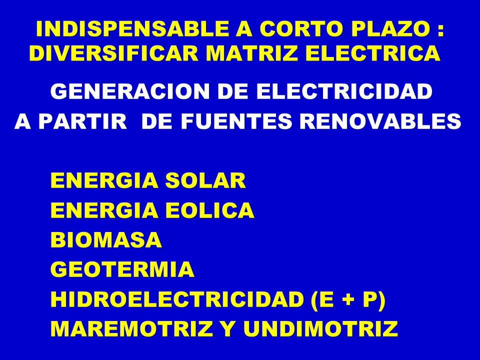 INDISPENSABLE A CORTO PLAZO : DIVERSIFICAR MATRIZ ELECTRICA