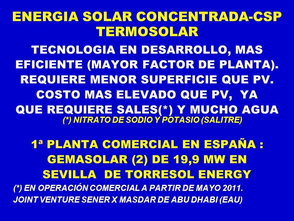 ENERGIA SOLAR CONCENTRADA-CSP TERMOSOLAR