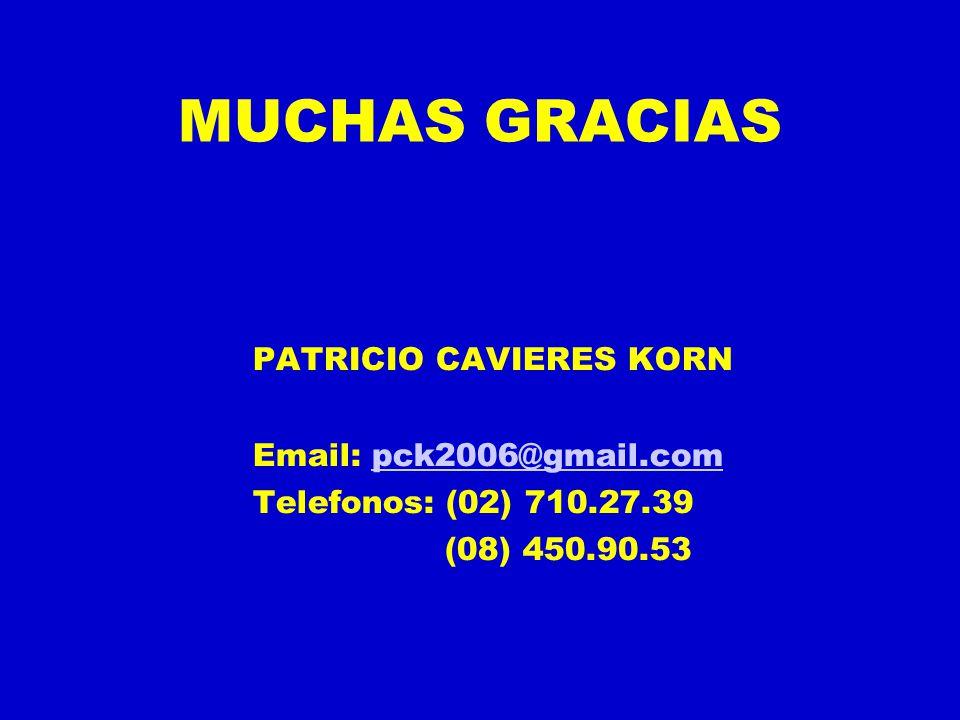 MUCHAS GRACIAS PATRICIO CAVIERES KORN