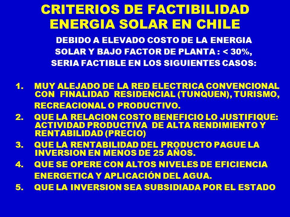 CRITERIOS DE FACTIBILIDAD ENERGIA SOLAR EN CHILE