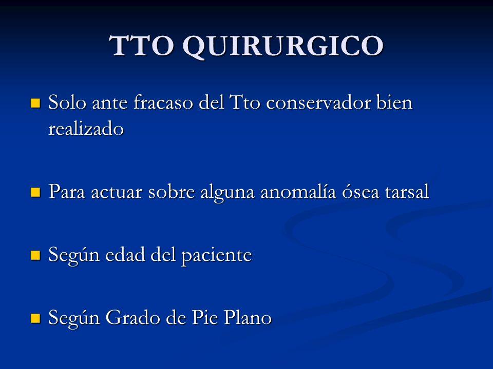 TTO QUIRURGICO Solo ante fracaso del Tto conservador bien realizado