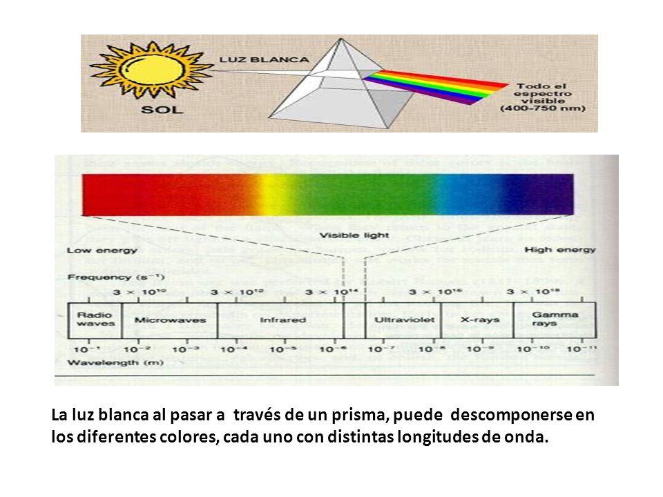 La luz blanca al pasar a través de un prisma, puede descomponerse en los diferentes colores, cada uno con distintas longitudes de onda.