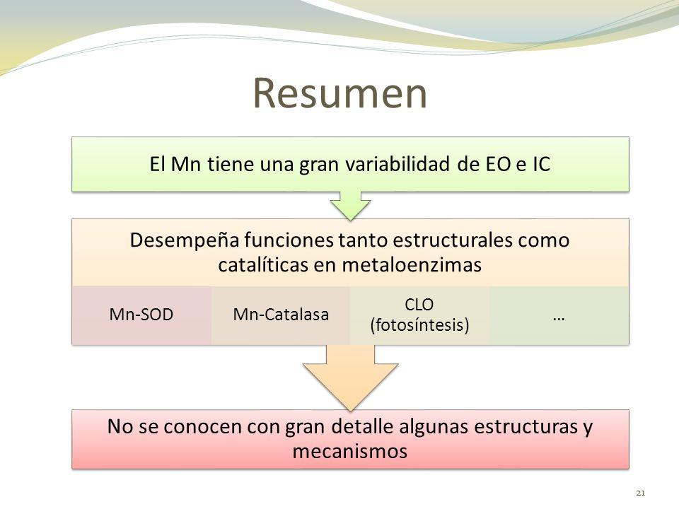 Resumen El Mn tiene una gran variabilidad de EO e IC. Desempeña funciones tanto estructurales como catalíticas en metaloenzimas.
