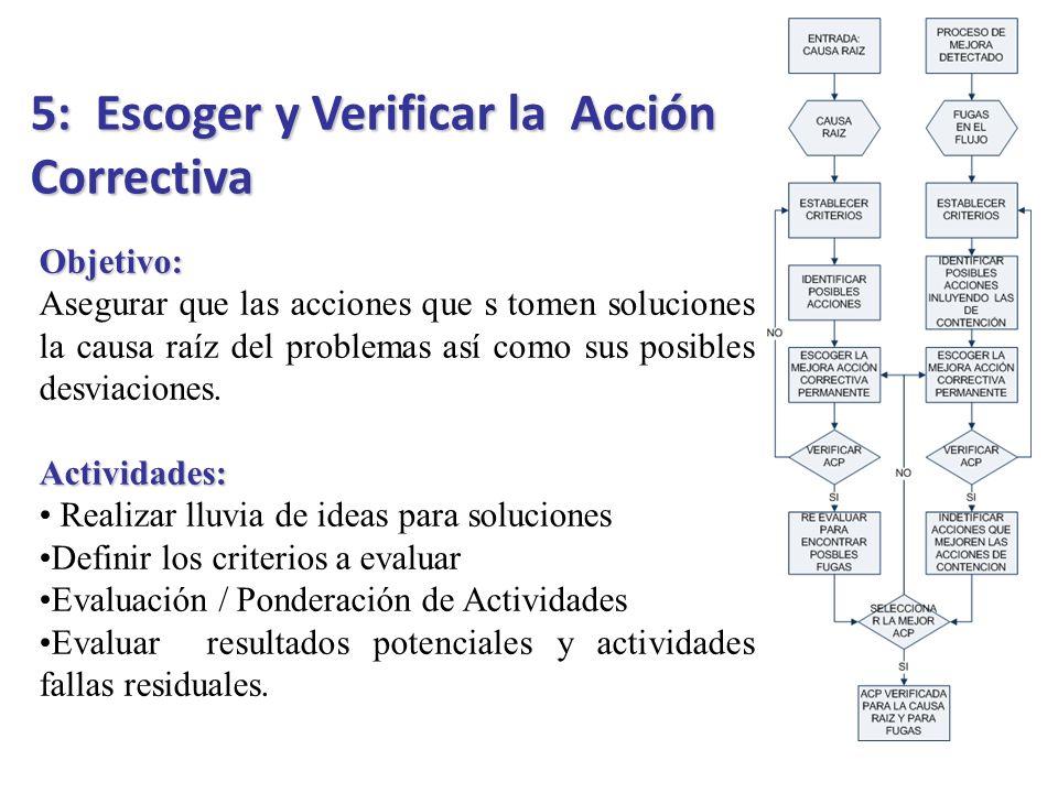 5: Escoger y Verificar la Acción Correctiva
