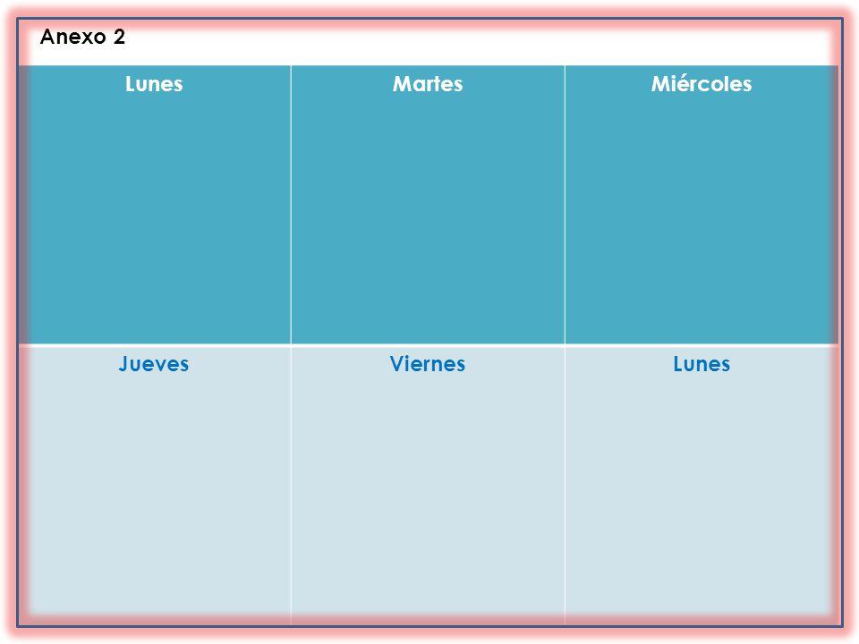 Anexo 2 Lunes Martes Miércoles Jueves Viernes