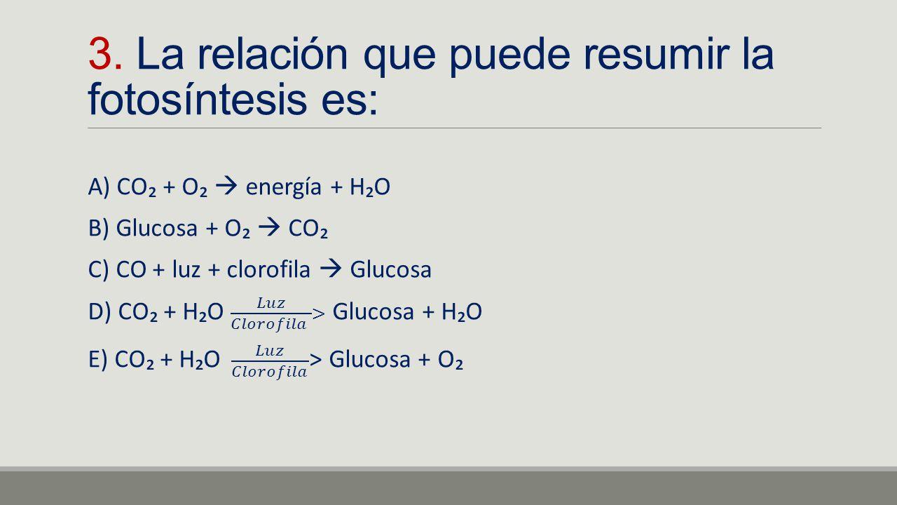 3. La relación que puede resumir la fotosíntesis es: