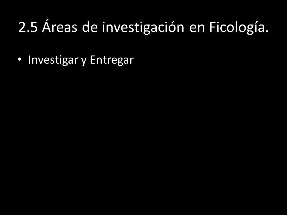 2.5 Áreas de investigación en Ficología.
