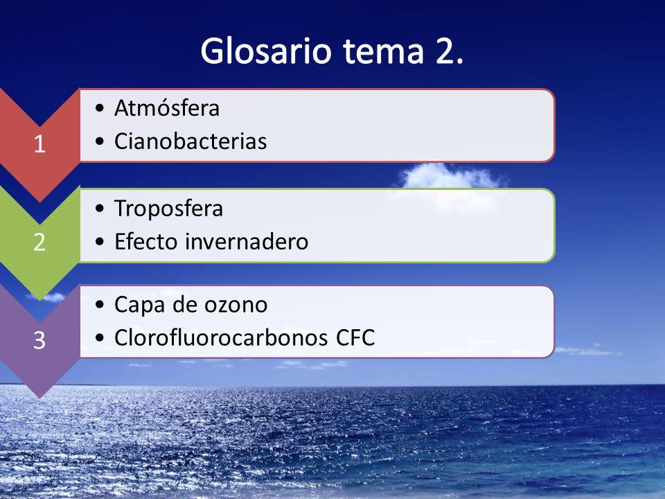 Glosario tema 2. 1 Atmósfera Cianobacterias 2 Troposfera