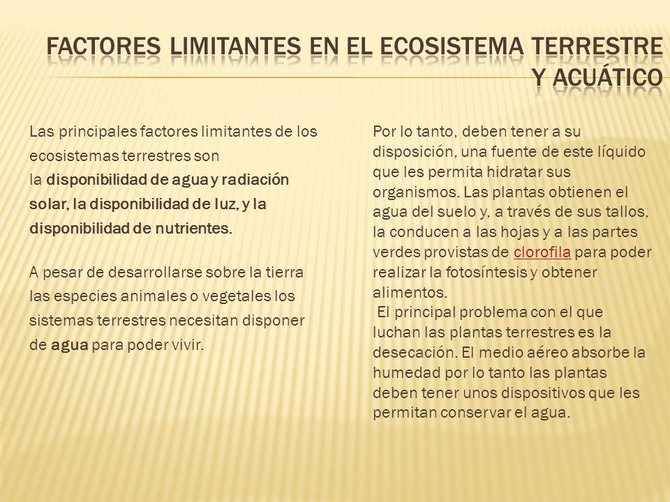 Factores limitantes en el ecosistema terrestre y acuático