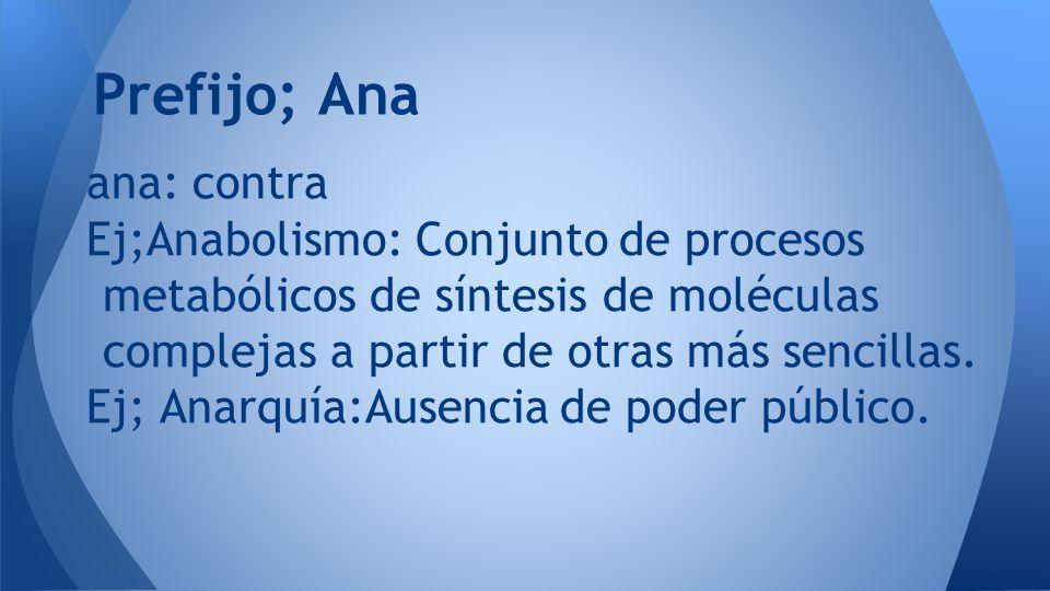 Prefijo; Ana ana: contra