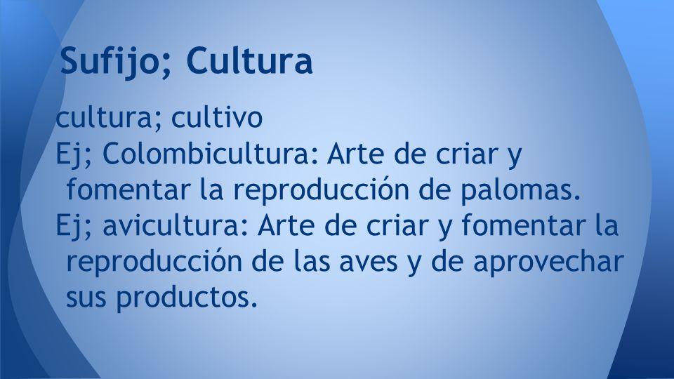 Sufijo; Cultura cultura; cultivo