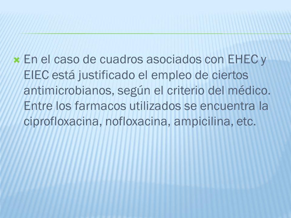 En el caso de cuadros asociados con EHEC y EIEC está justificado el empleo de ciertos antimicrobianos, según el criterio del médico.