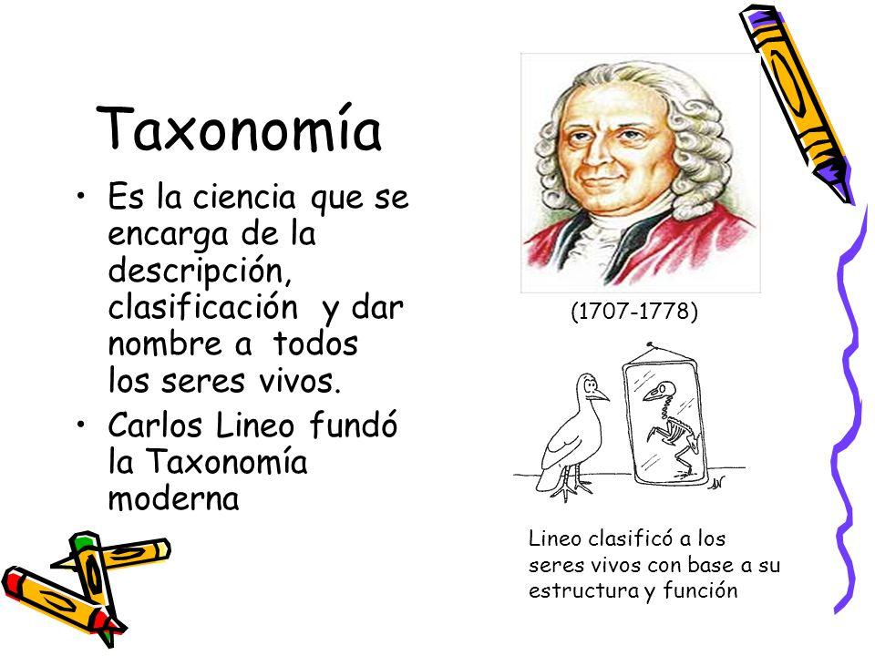 Taxonomía Es la ciencia que se encarga de la descripción, clasificación y dar nombre a todos los seres vivos.