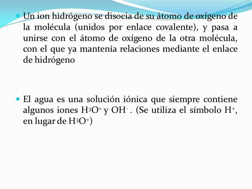 Un ion hidrógeno se disocia de su átomo de oxígeno de la molécula (unidos por enlace covalente), y pasa a unirse con el átomo de oxígeno de la otra molécula, con el que ya mantenía relaciones mediante el enlace de hidrógeno