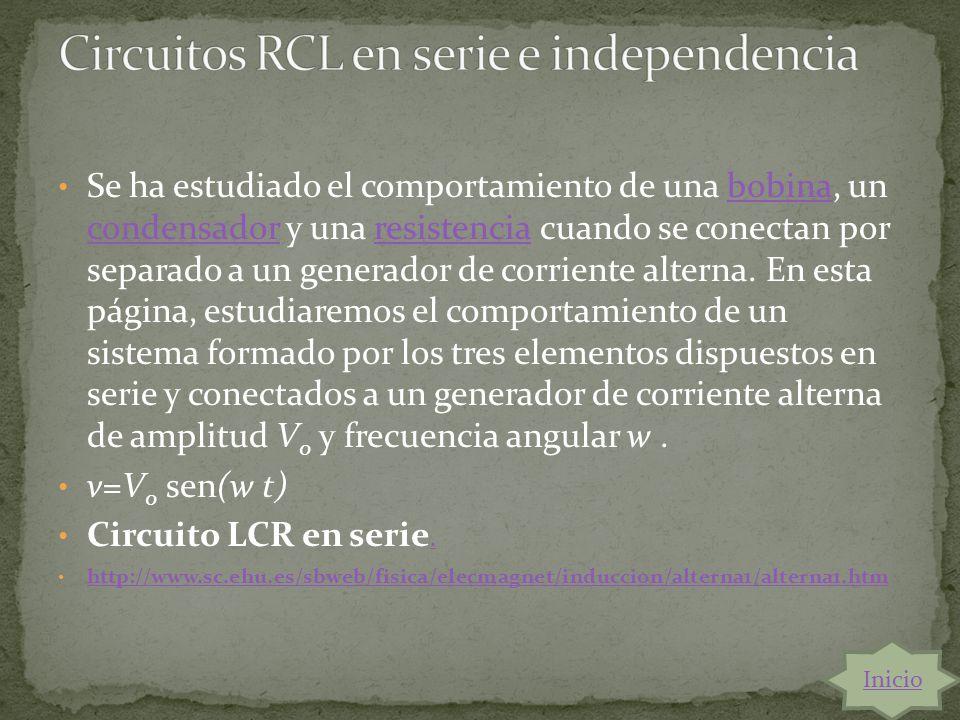 Circuitos RCL en serie e independencia