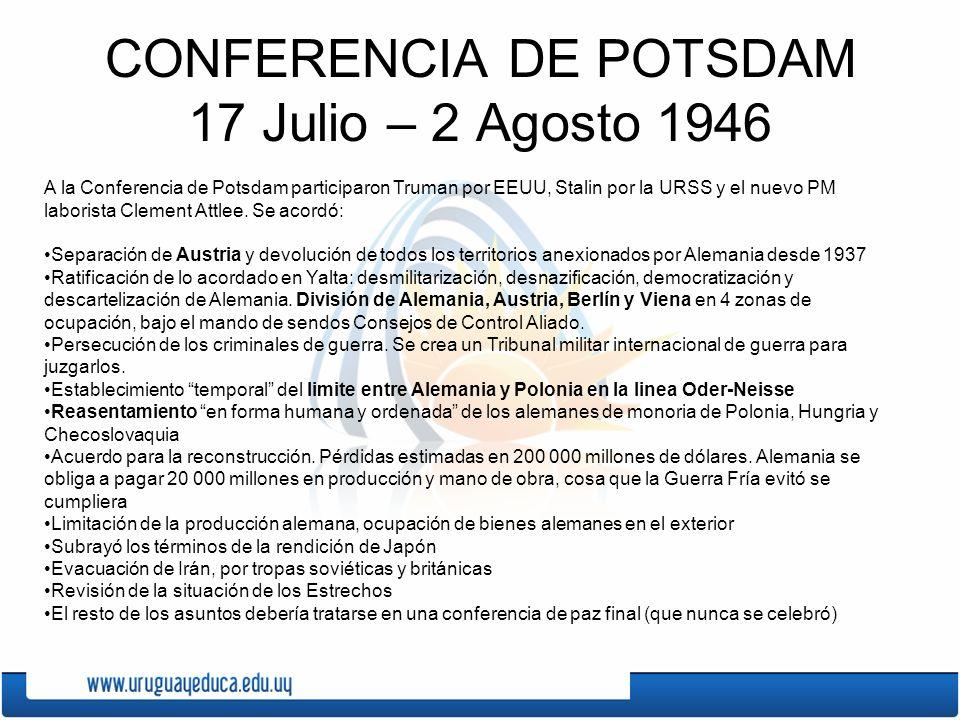 CONFERENCIA DE POTSDAM 17 Julio – 2 Agosto 1946
