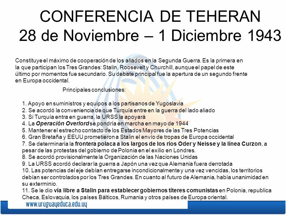 CONFERENCIA DE TEHERAN 28 de Noviembre – 1 Diciembre 1943