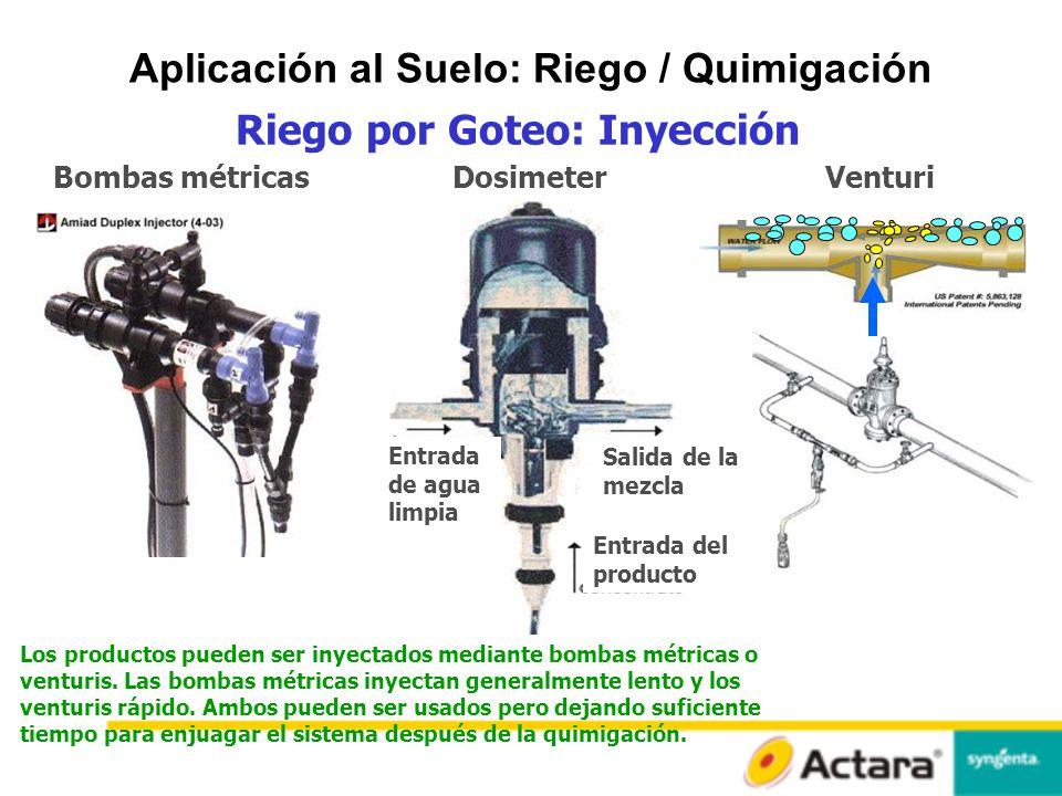 Aplicación al Suelo: Riego / Quimigación Riego por Goteo: Inyección