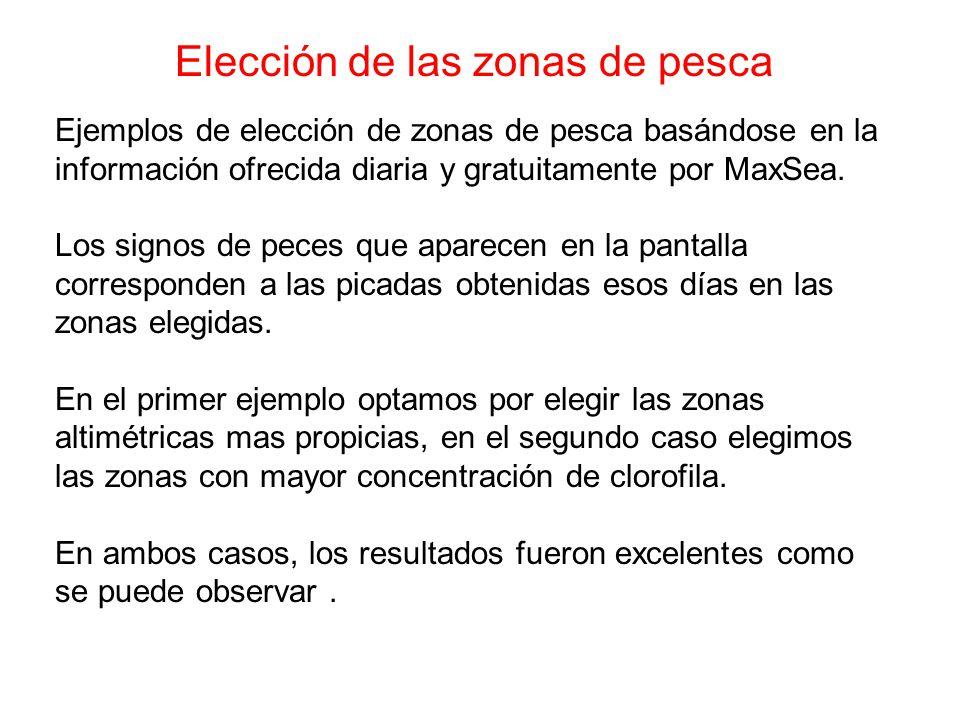 Elección de las zonas de pesca