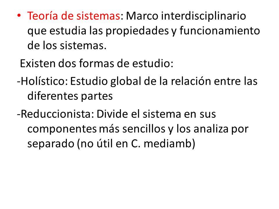 Teoría de sistemas: Marco interdisciplinario que estudia las propiedades y funcionamiento de los sistemas.