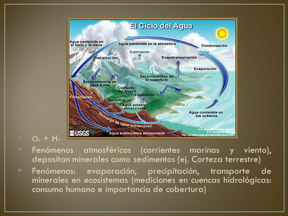 O2 + H+ Fenómenos atmosféricos (corrientes marinas y viento), depositan minerales como sedimentos (ej. Corteza terrestre)