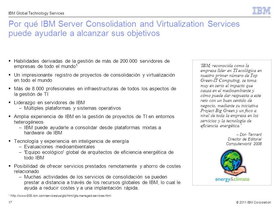 Por qué IBM Server Consolidation and Virtualization Services puede ayudarle a alcanzar sus objetivos