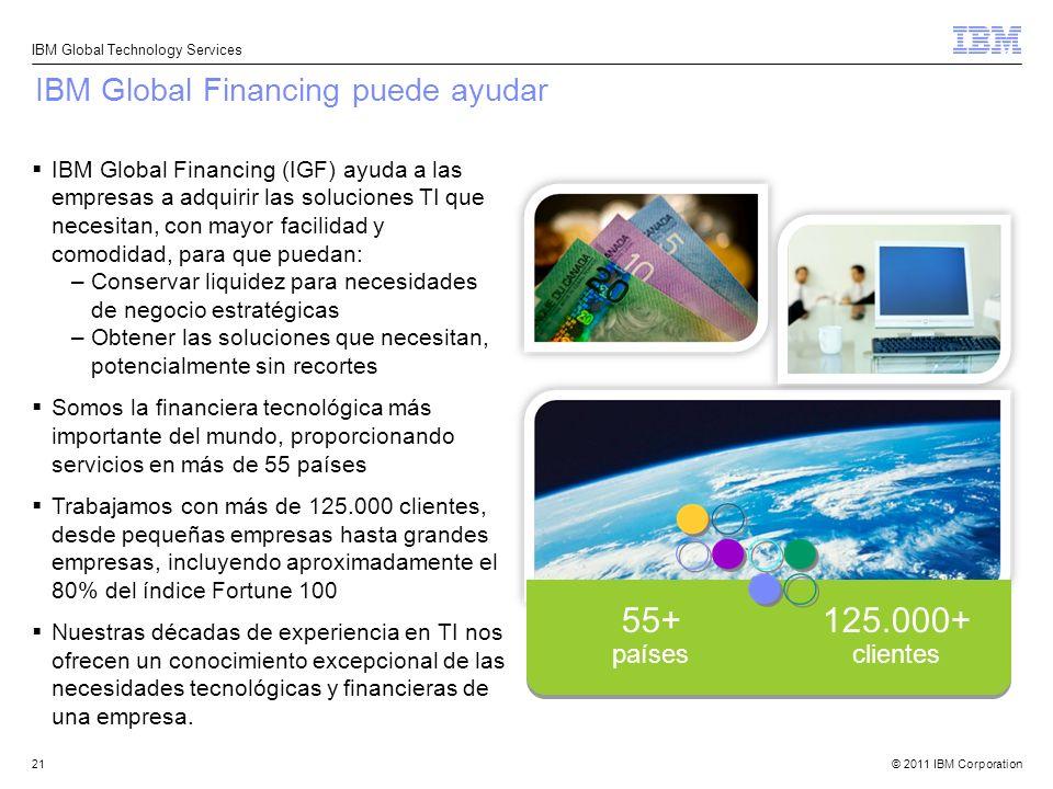 55+ 125.000+ IBM Global Financing puede ayudar países clientes