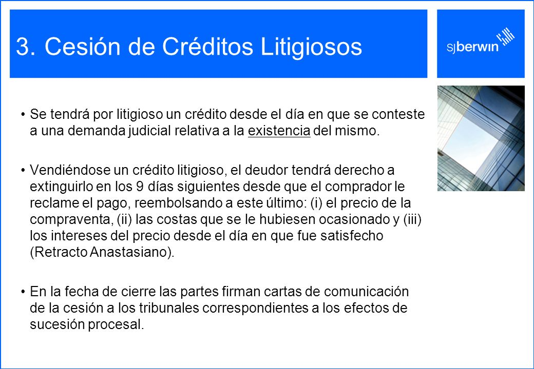 Cesión de Créditos Litigiosos