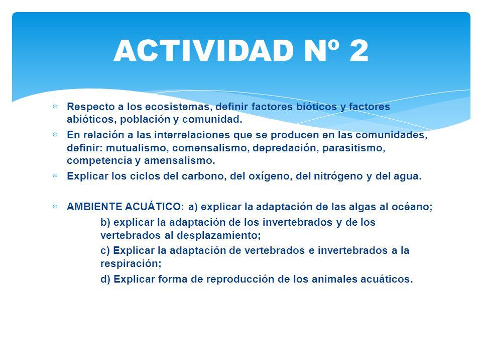 ACTIVIDAD Nº 2 Respecto a los ecosistemas, definir factores bióticos y factores abióticos, población y comunidad.