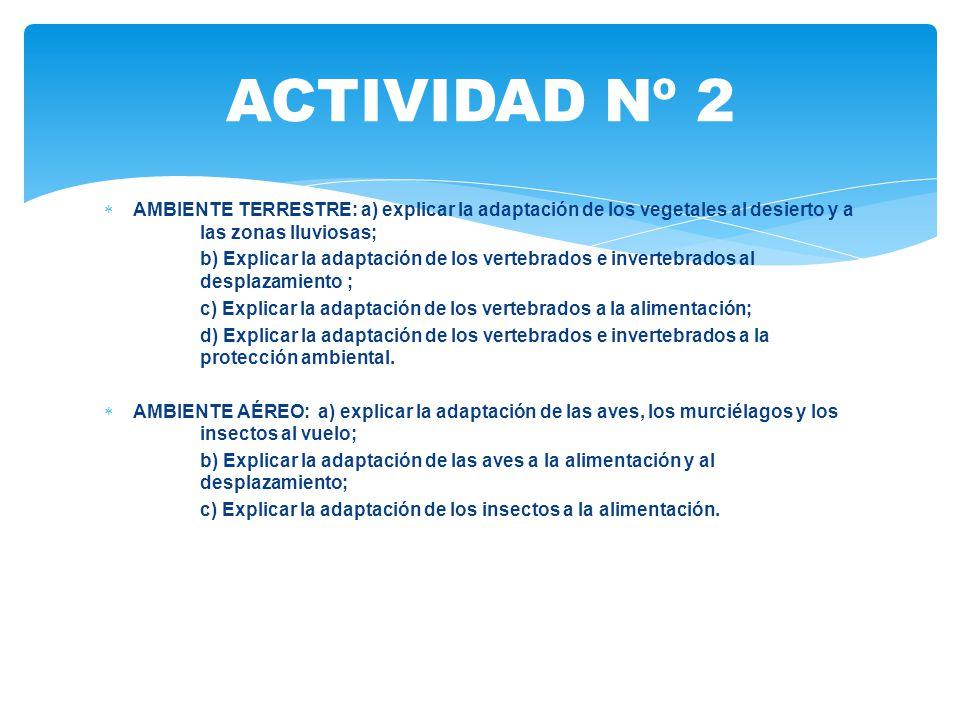 ACTIVIDAD Nº 2 AMBIENTE TERRESTRE: a) explicar la adaptación de los vegetales al desierto y a las zonas lluviosas;