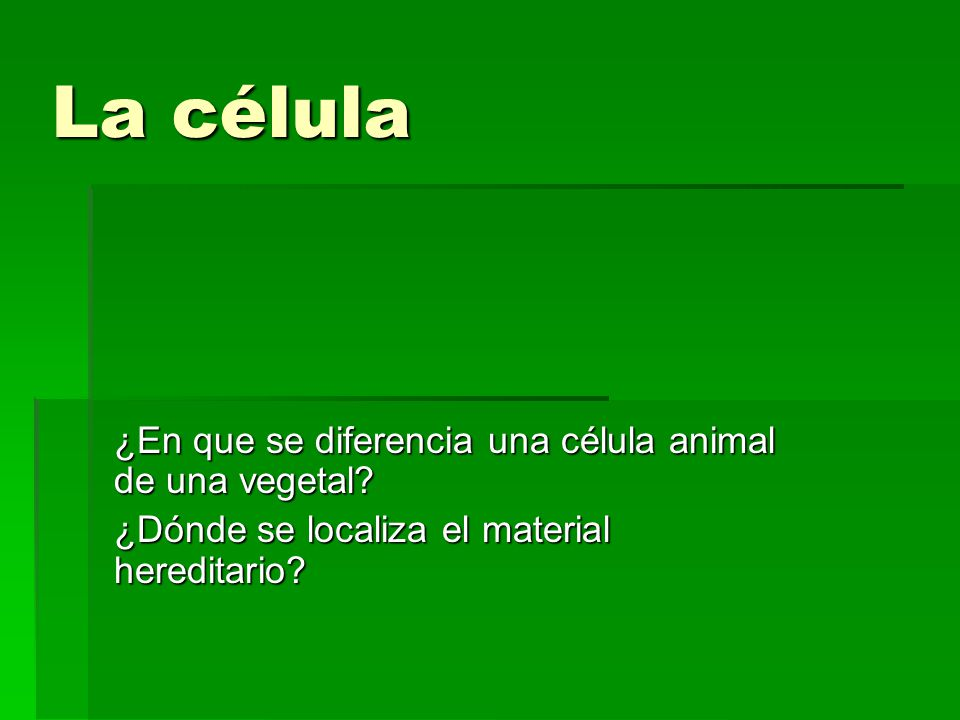 La célula ¿En que se diferencia una célula animal de una vegetal