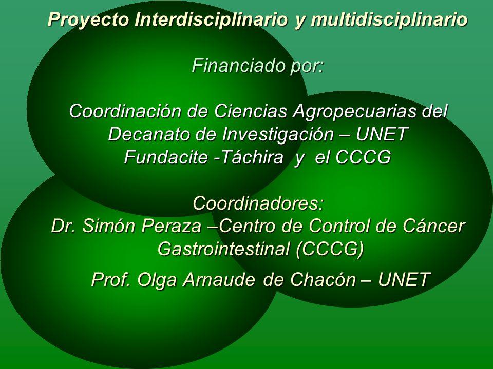 Proyecto Interdisciplinario y multidisciplinario Financiado por: Coordinación de Ciencias Agropecuarias del Decanato de Investigación – UNET Fundacite -Táchira y el CCCG Coordinadores: Dr.