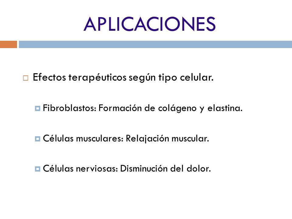 APLICACIONES Efectos terapéuticos según tipo celular.