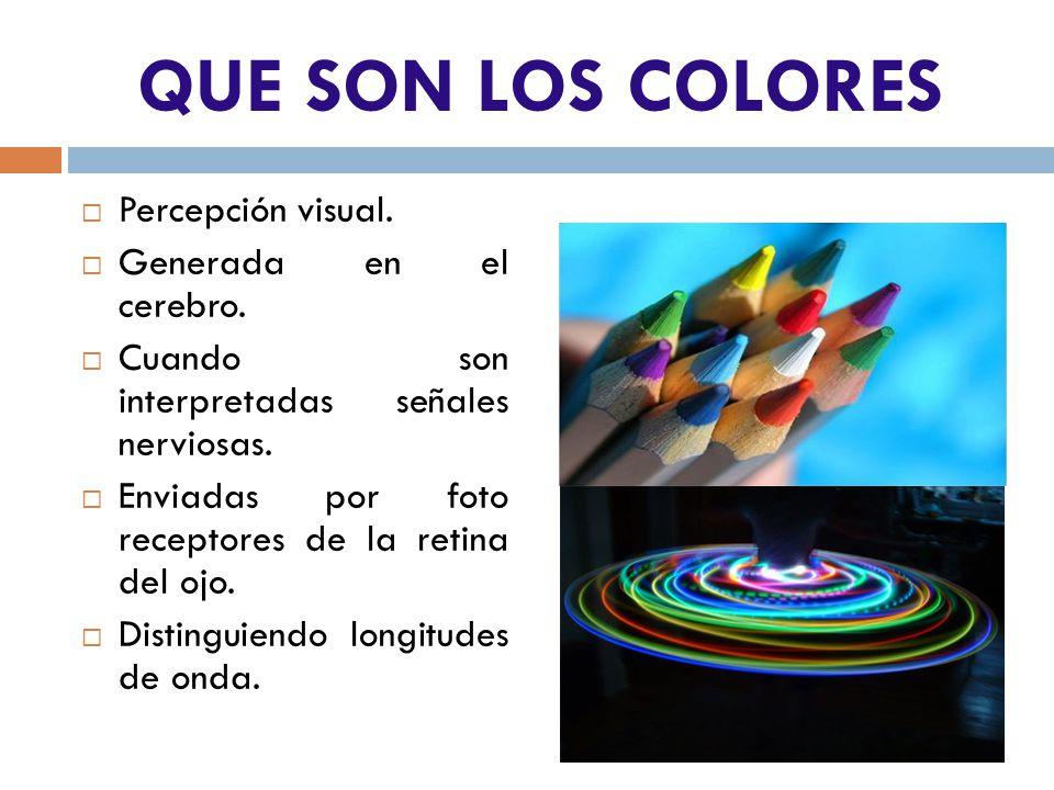 QUE SON LOS COLORES Percepción visual. Generada en el cerebro.