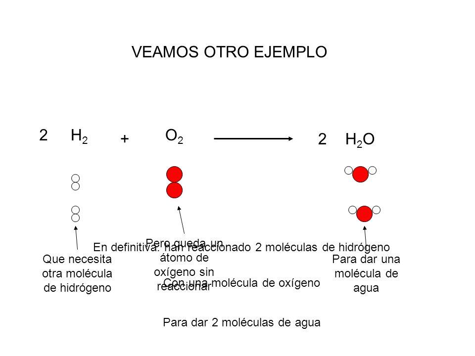 VEAMOS OTRO EJEMPLO 2 H2 O2 + 2 H2O