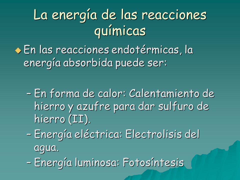 La energía de las reacciones químicas