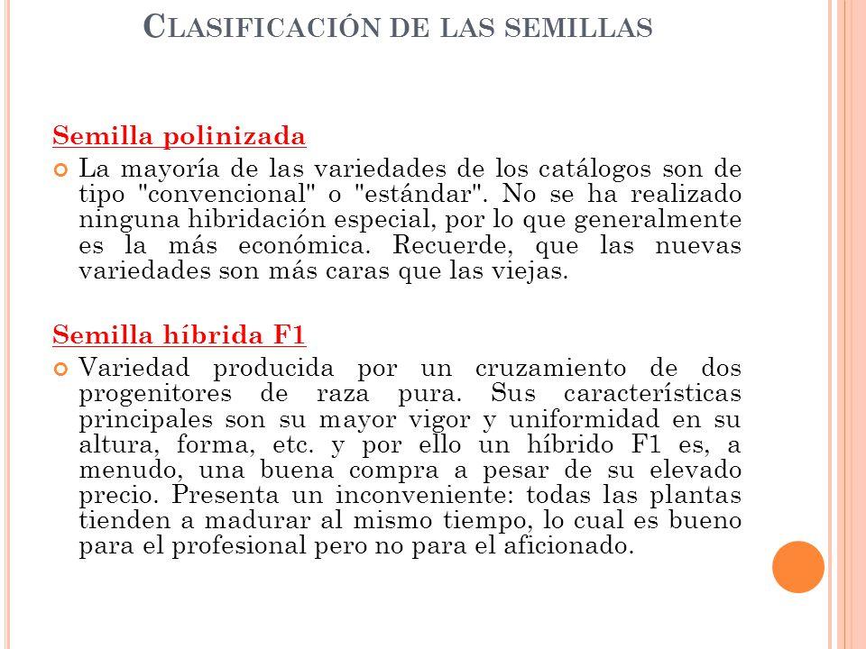 Clasificación de las semillas