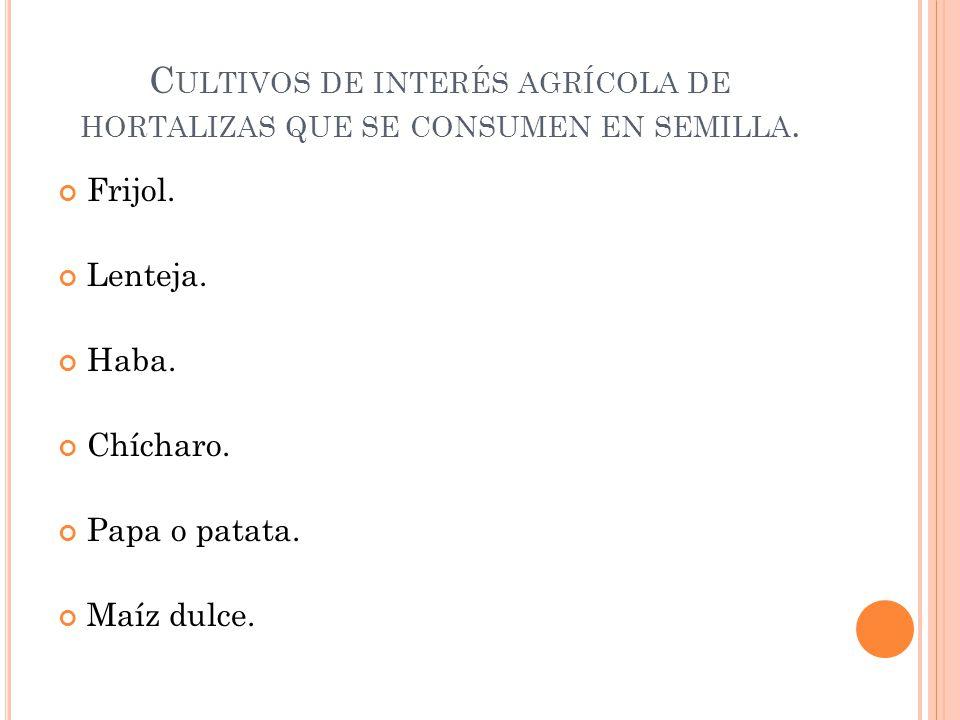 Cultivos de interés agrícola de hortalizas que se consumen en semilla.