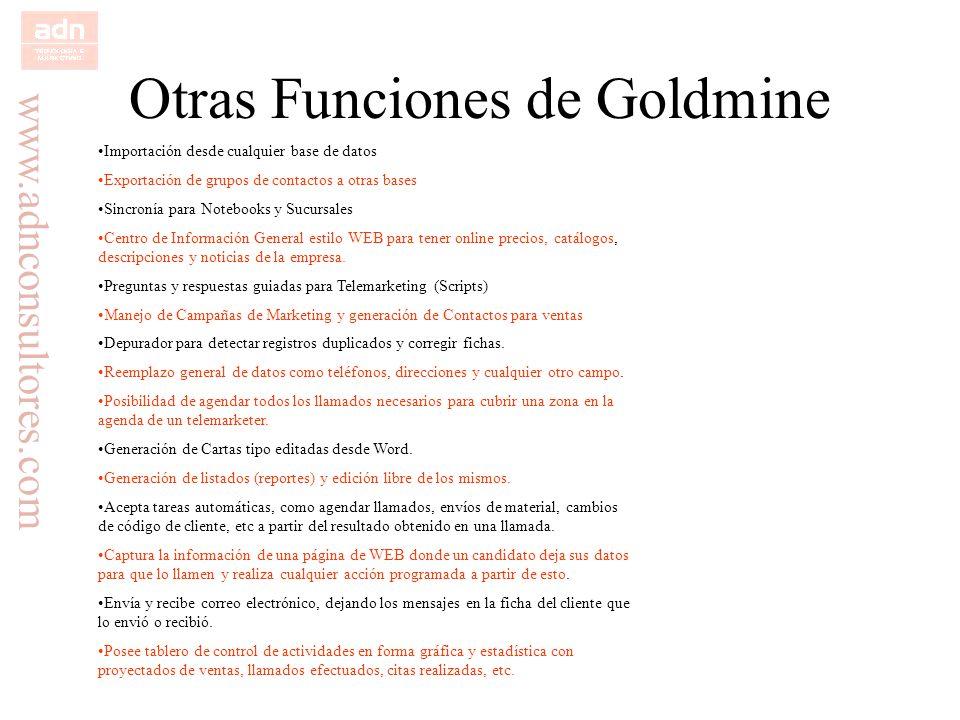 Otras Funciones de Goldmine
