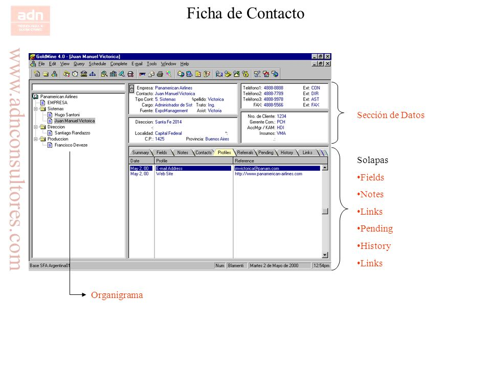Ficha de Contacto Sección de Datos Solapas Fields Notes Links Pending