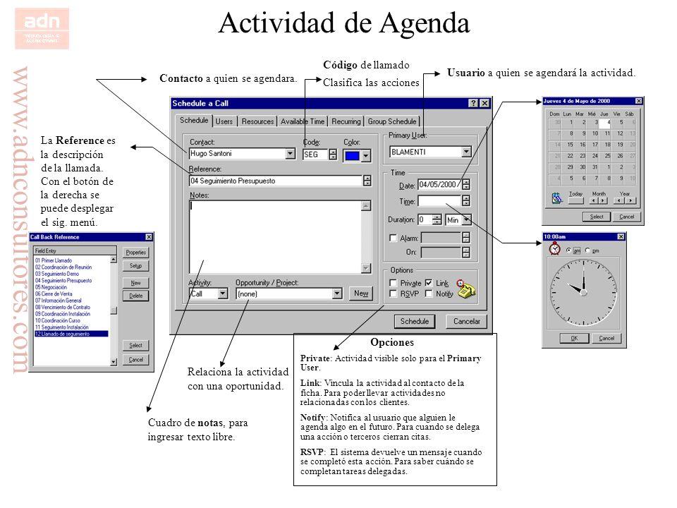 Actividad de Agenda Código de llamado Clasifica las acciones